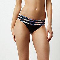 Black geo print multi strap bikini bottoms