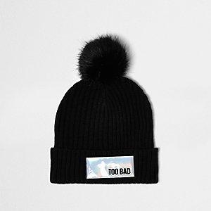 Black knit reflective patch bobble hat