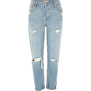 Ashely – Hellblaue Boyfriend-Jeans im Used-Look