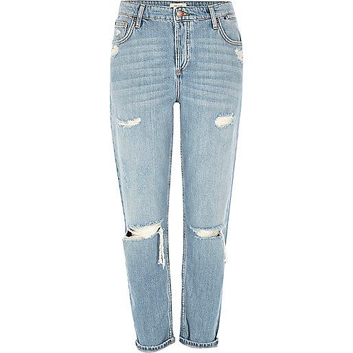 Ashely – Hellblaue Boyfriend-Jeans im Used-Look