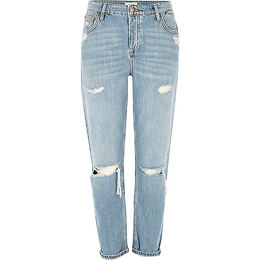 Jean boyfriend Ashley bleu clair déchiré
