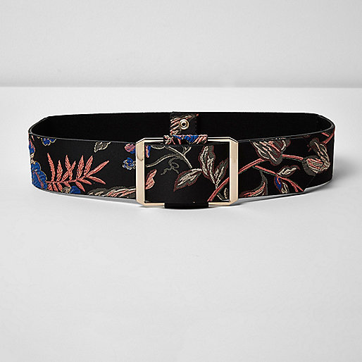 Black print jacquard waistbelt