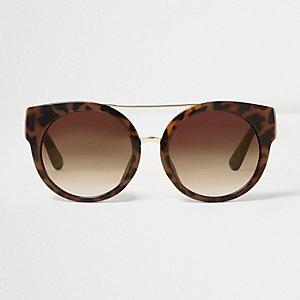 Lunettes de soleil papillon imprimé léopard marron