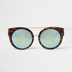 Braune, verspiegelte Sonnenbrille mit Leopardenmuster
