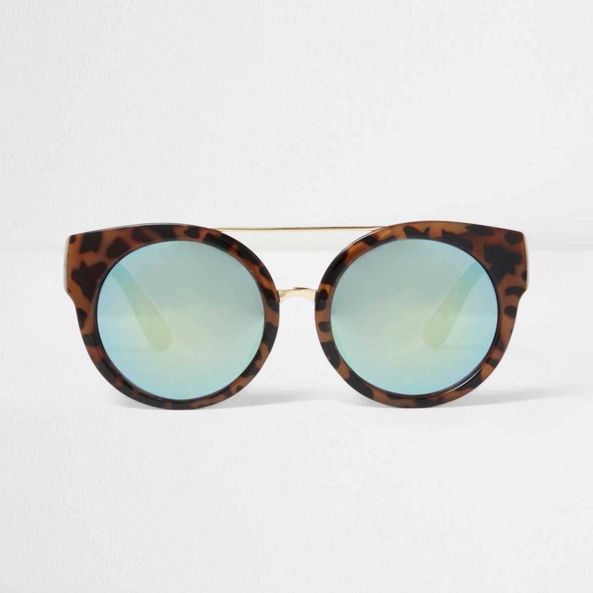 Lunettes de soleil effet miroir imprimé léopard marron