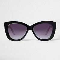 Lunettes de soleil noires à verres teintés violets forme œil de chat
