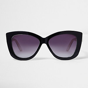 Black cat eye purple tint sunglasses