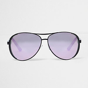 Black lilac mirror aviator sunglasses