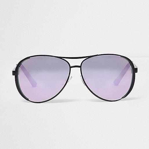Lunettes de soleil aviateur noires à verres lilas effet miroir