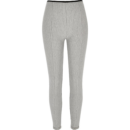 Grey pinstripe high waisted leggings