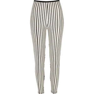 Cream striped high waisted leggings