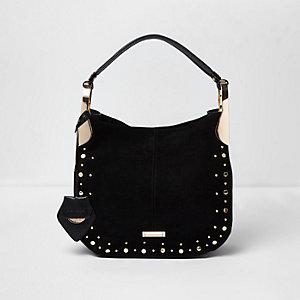Black stud detail slouch bag