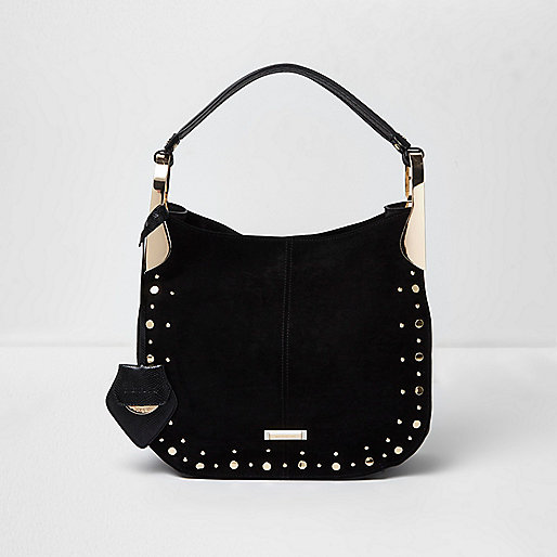Black stud detail slouch bag