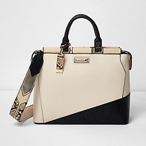 Cream snakeskin panel tote bag