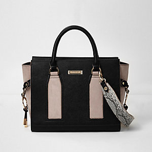 Black contrast panel boxy tote bag