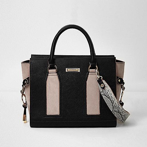 Black contrast panel boxy tote bag