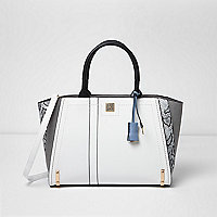 Black and white snake print tote bag