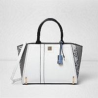 Black and white snake print tote bag