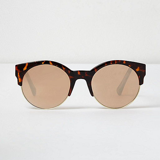 Brown tortoise shell gold mirror sunglasses