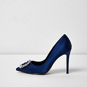 Navy satin buckle pumps