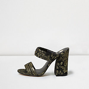 Black print strappy heeled mules