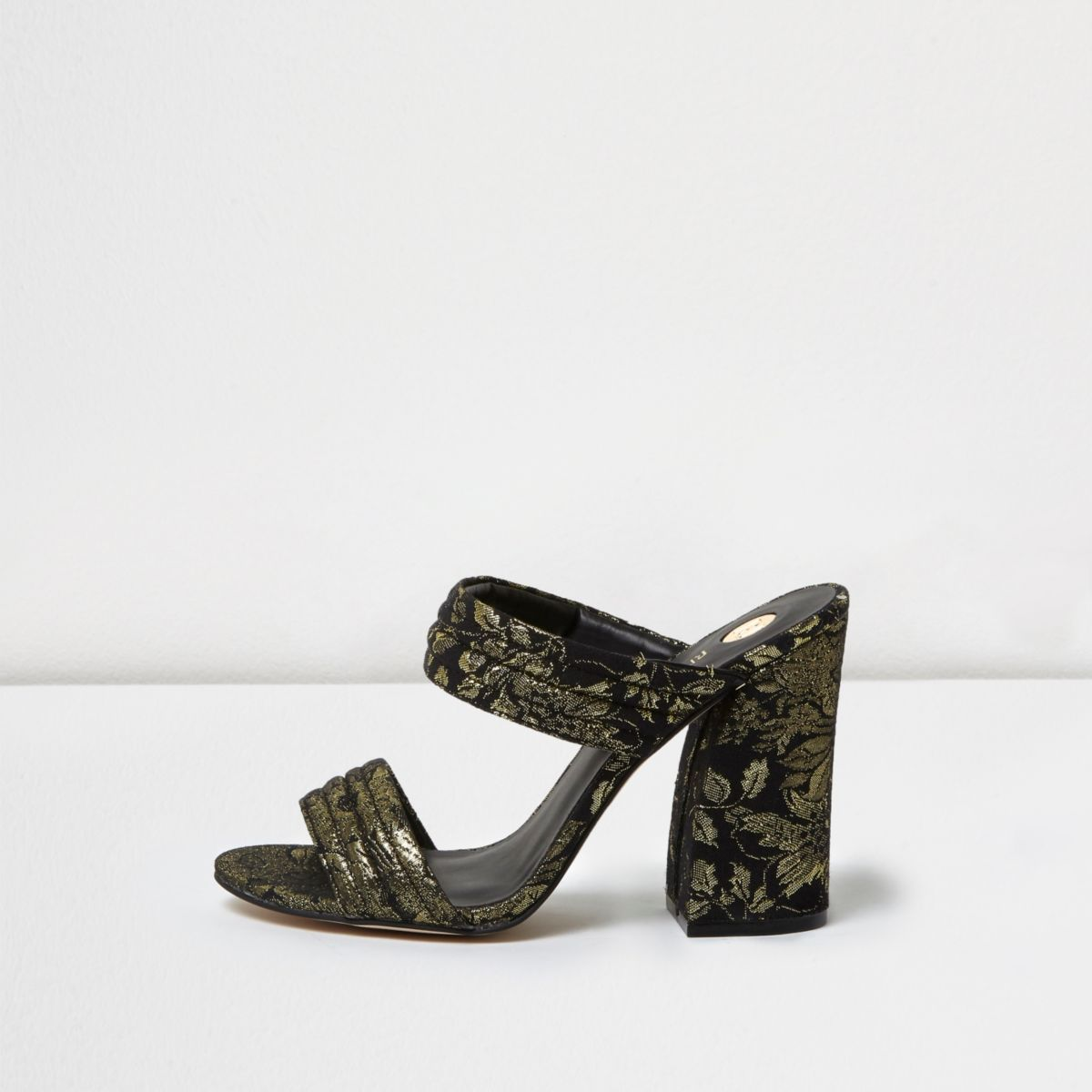 Black print strappy heeled mules