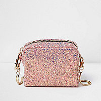 Pink glitter mini chain bag