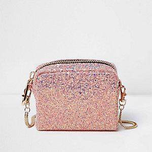 Mini sac à main rose à paillettes avec bandoulière chaîne