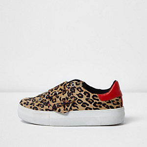 Leopard print pony skin platform sneakers