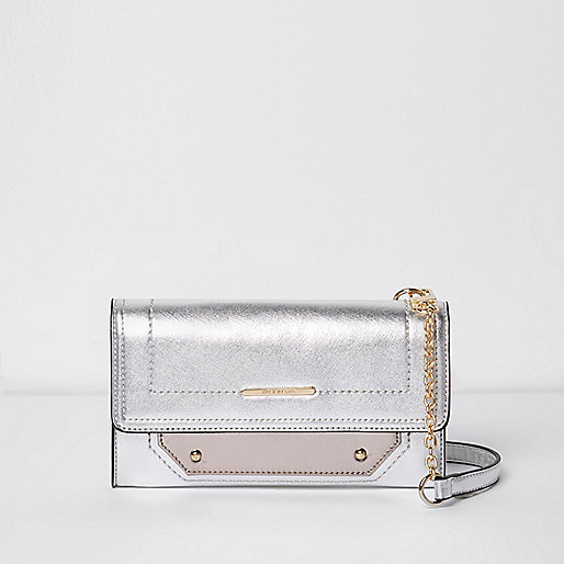 Silver foldover cross body bag