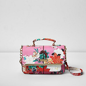 Pink floral print mini satchel bag