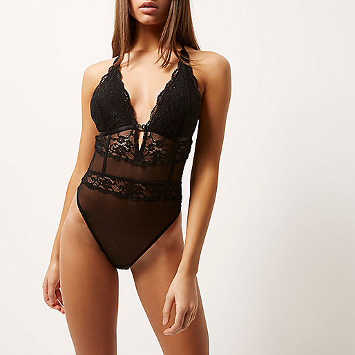 Black lace mesh bodysuit