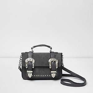Grey western buckle mini satchel bag