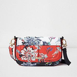 Red floral print satchel bag