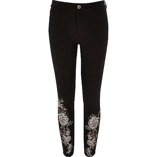 Pantalon Molly noir à fleurs brodées