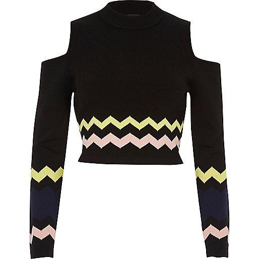 Black chevron print cold shoulder top