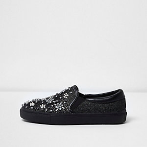 Black textured diamante plimsolls