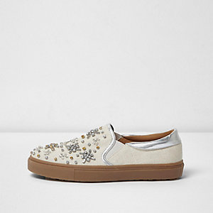 Cream textured diamante plimsolls