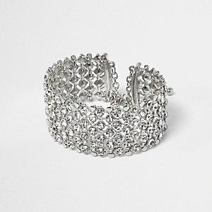 RI Plus - zilverkleurige armband met kristalletjes