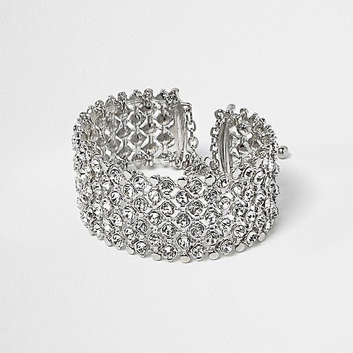 Plus silver crystal embellished bracelet