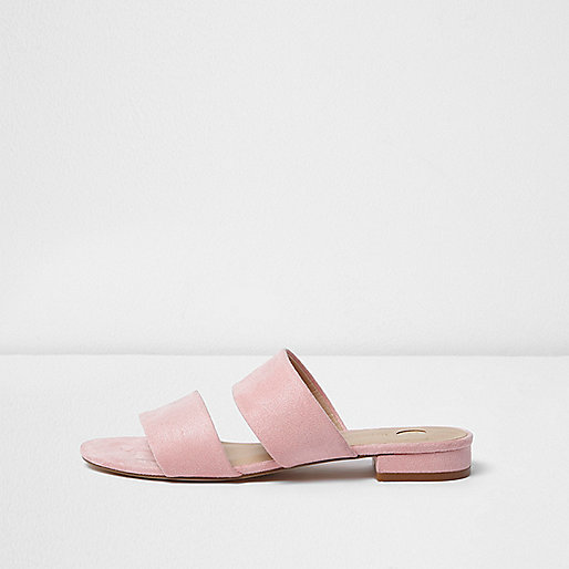 Pink two strap mules