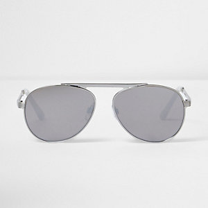 Silver mirror lens aviator sunglasses