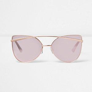 Verspiegelte Cateye-Sonnenbrille in Roségold