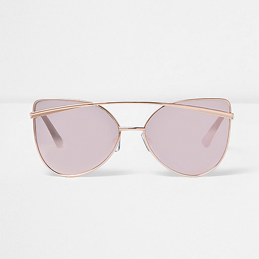 Rose gold tone cat eye pink mirror sunglasses