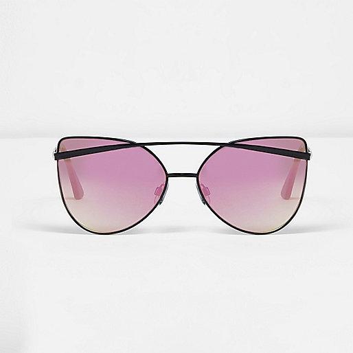 Zwarte cat-eye-zonnebril met spiegelglazen
