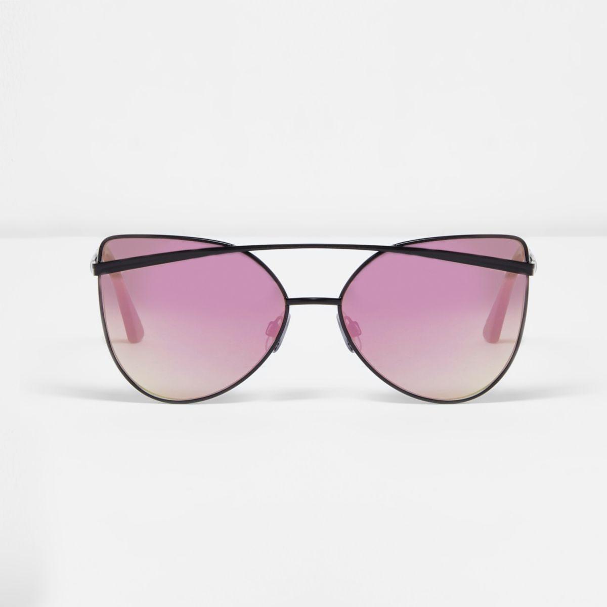 Schwarze, verspiegelte Cateye-Sonnenbrille