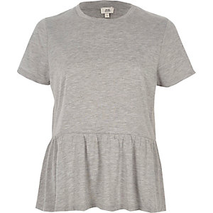 Grey soft peplum T-shirt
