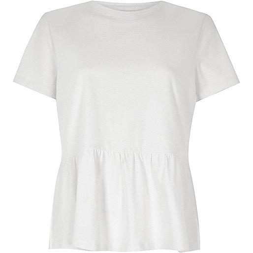 White soft peplum T-shirt