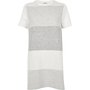 Cream quilted panel shift dress