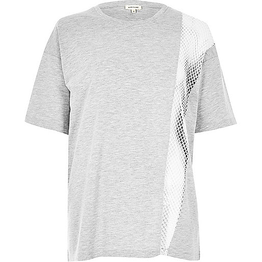 Boyfriend-T-Shirt mit Mesh-Einsatz in Grau meliert